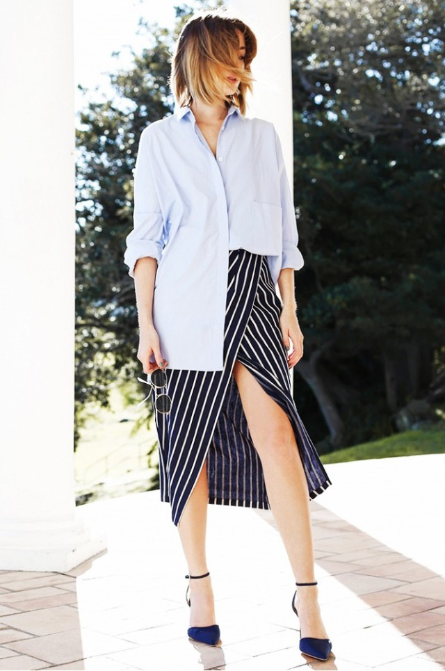 striped wrap skirt, stripes, modern stripes, black and white stripes, mens oxford shirts, button up shirt, work outfits, summer spring work outfits