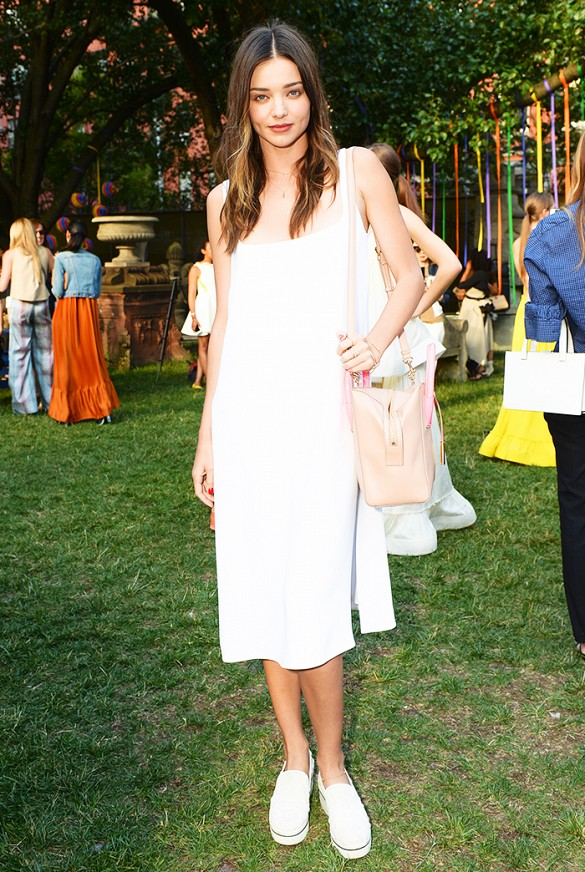 stella mccartney pre-fall presentation, miranda kerr, sneakers, white dress, sundress, all white