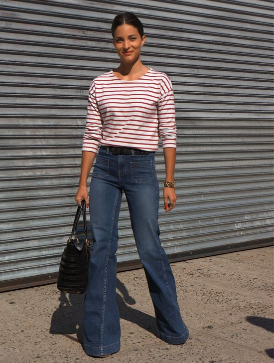 maria-duenas-striped-tee-flare-jeans-red-stripes-red-white-and-blue-summer-work-weekend-summer-friday-via-beso.com