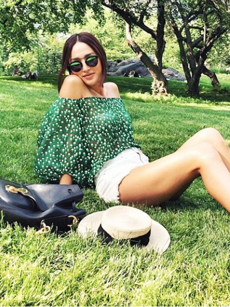 off-the-shoulder-shirt-white-cutoffs-shorts-hat-printed-blouse-summer-style-date-night-out-bbq-movie-outdoor-party-via-www
