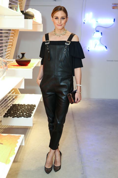 olivia-palermo-black-leather-overalls-off-the-shoulder-shirt-going-out-date-night-edgy-statement-necklace-spring-summer-night-ot-via-getty
