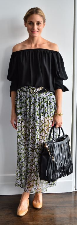 olivia-palermo-maxi-skirt-off-the-shoulder-shirt-belt-via