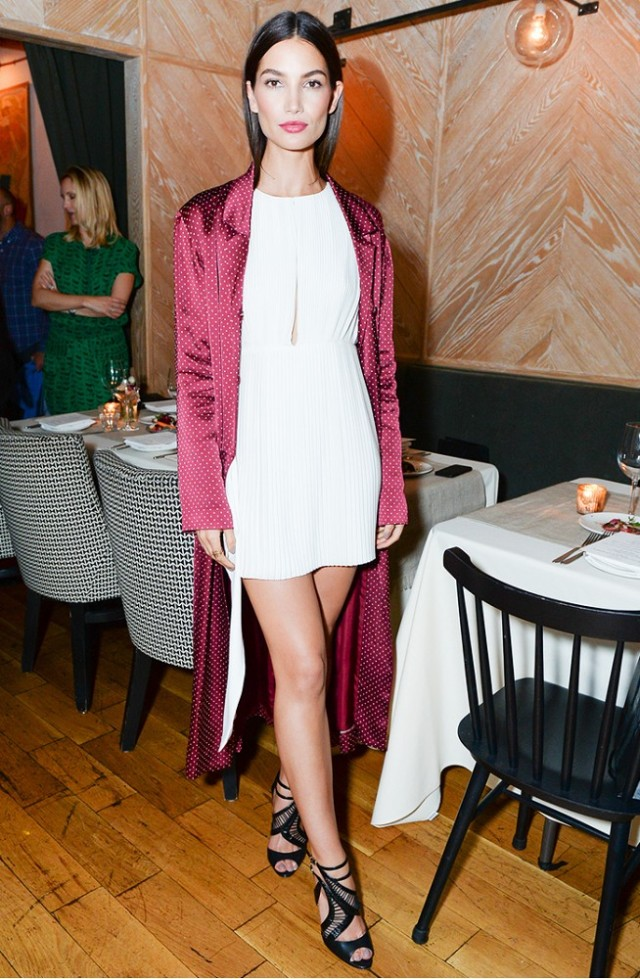 printed-duster-coat-white-romper-mini-dress-night-out-going-out-party-lily-aldridge-via-www