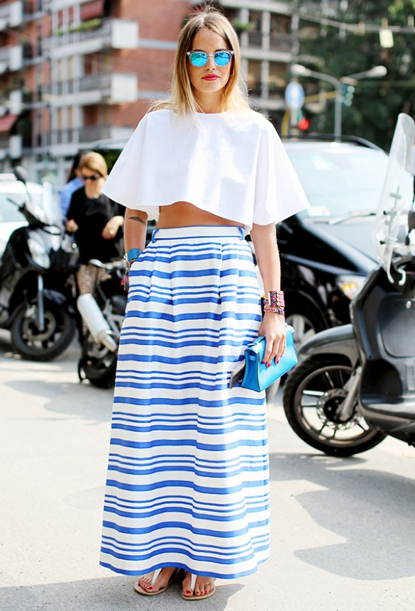 striped-maxi-skirt-summer-otufit-shower-wedding-party-white-crop-top-ruffled-top[sandals-blue-and-white-via-lee oliveira