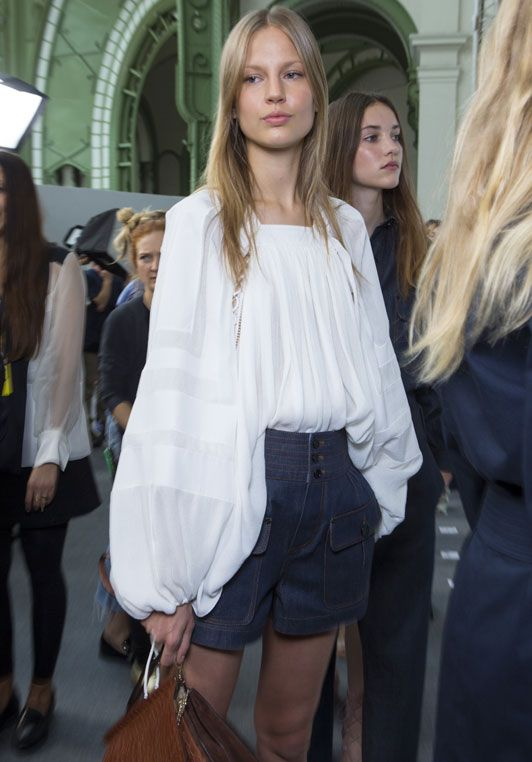 summer-outfit-high-waisted-shorts-peasant-blouse-chloe-via-fashion.telegraph.co.uk