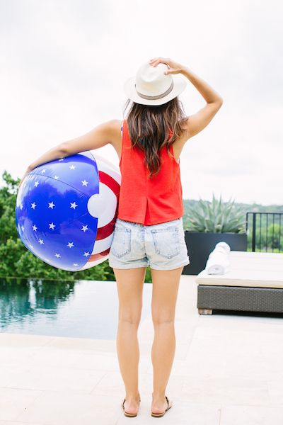 summer-pool-party-weekend-denim-shorts-cutoffs-red-white-and-blue-hat-via-camillestyles.com