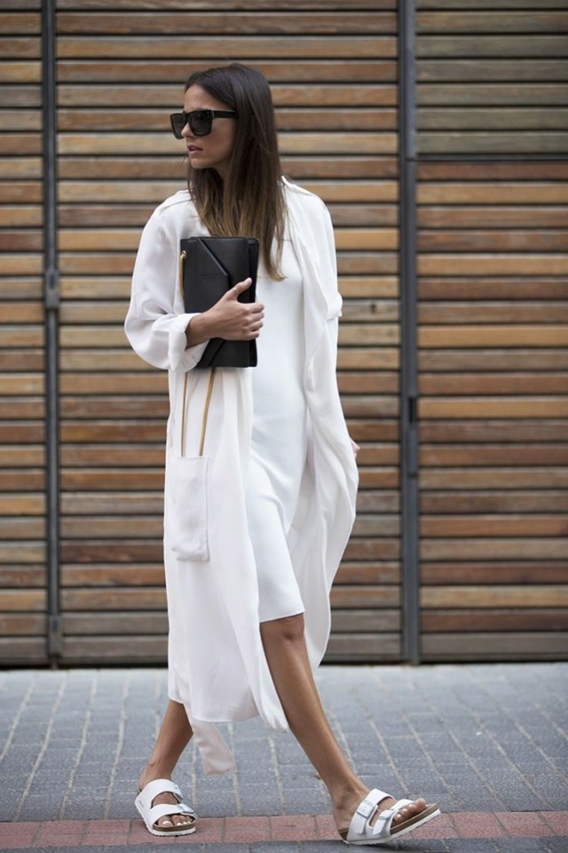 summer-work-outfits-little-white-dress-white-duster-coat-birks-black-clutch-all-white-via-naimabarcelona.tumblr.com