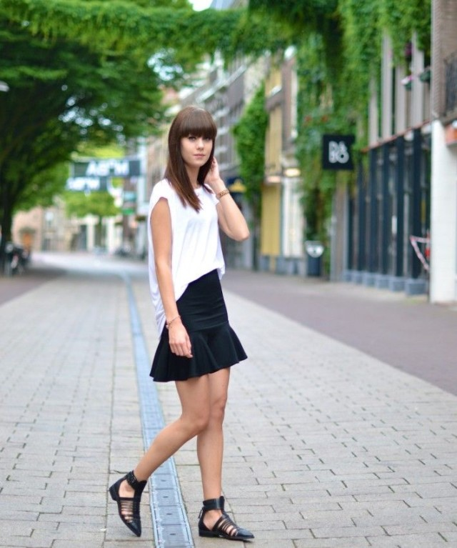 summer-work-vacation-night-out-date-night-outfit-white-tee-black-ruffle-mini-skirt-black-caged-flats-cutout-flats-via-peoplewithstyles.tumblr.com