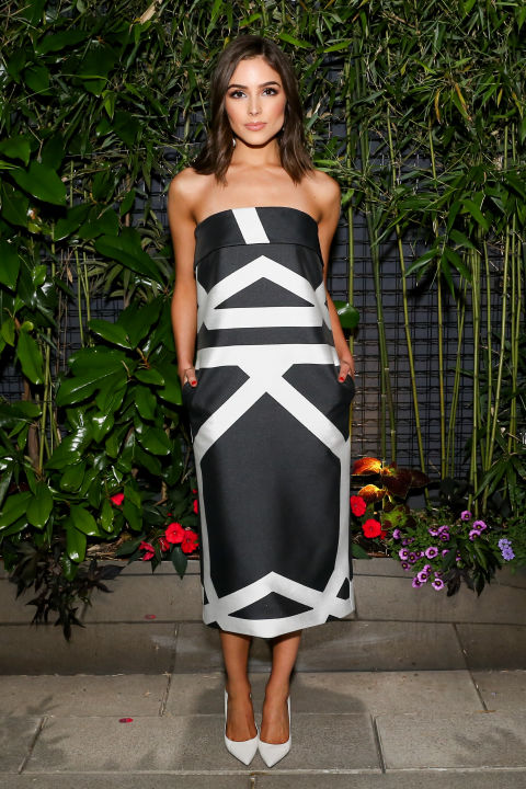 wedding-dress-attire-party-cocktail-dress-black-and-white-strapless-dress-via-elle.com