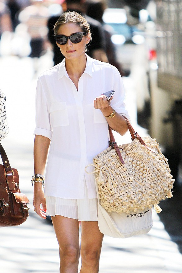 white-beach-weeknd-summer-hamptons-white-mini-skirt-straw-bag-white-oxford-shirt-oversixed-oxford-via-www