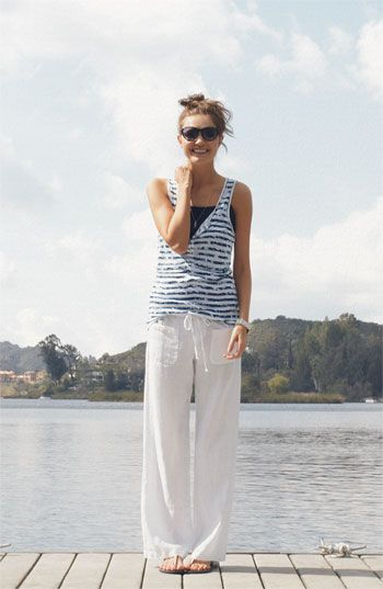 white-gauzy0beach-pants-striped-tank-lake-weekend-summer-via-