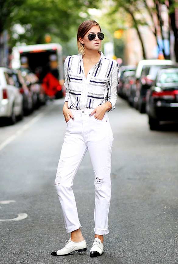 how to cuff your jeans, styling hacks, denim styling tricks white-jeans-cuffed-rolled-jeans-distressed-white-denim-oxfords-striped-shirt-rustic-stries-black-and-white-via-