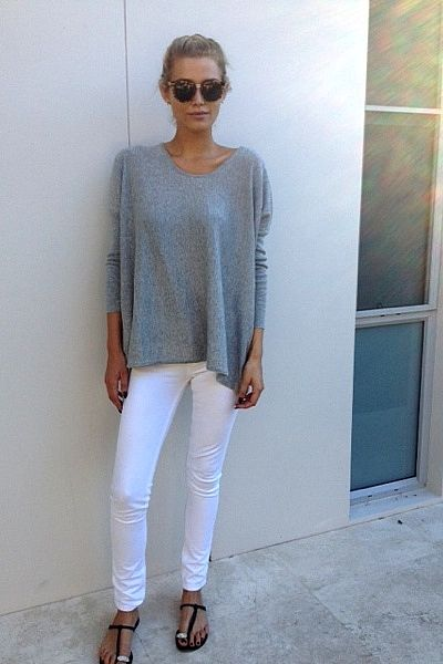 white-jeans-grey-sweater-sandals-ummer-weekend-hamptons-bbq-beach-via-lspbh.blogspot.com