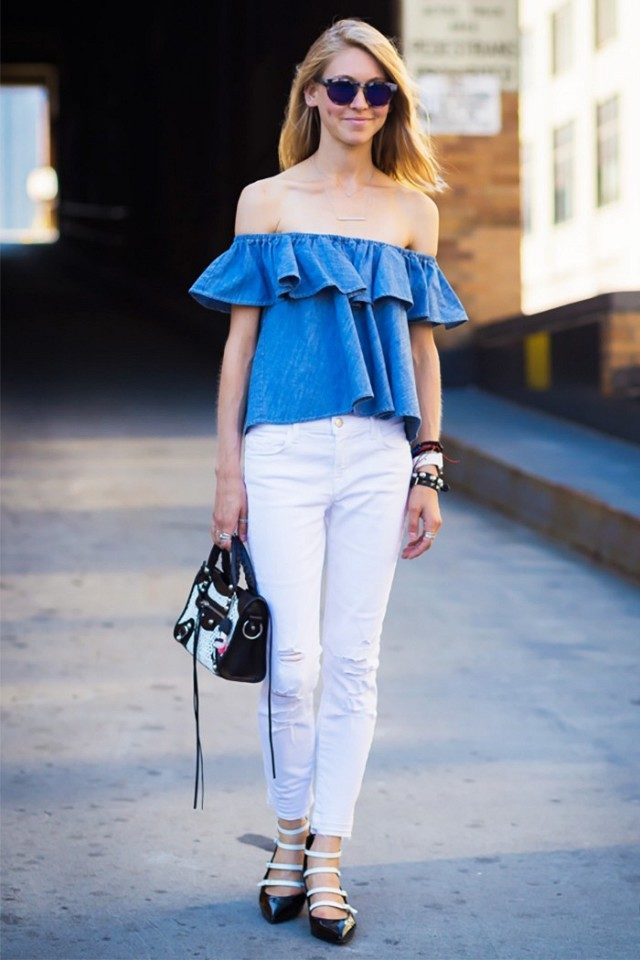 white jeans-off the shoulder shirt-jessica minkoff-buckle up flats sandals-going out night out-summer weekend outfit-