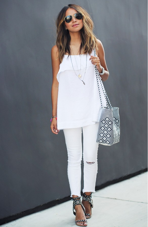 white-jeans-summer-outfit-date-night-outfit-going-out-night-out-white-ruffle-tank-layered-necklace-white-distressed-denim-sandals-via-