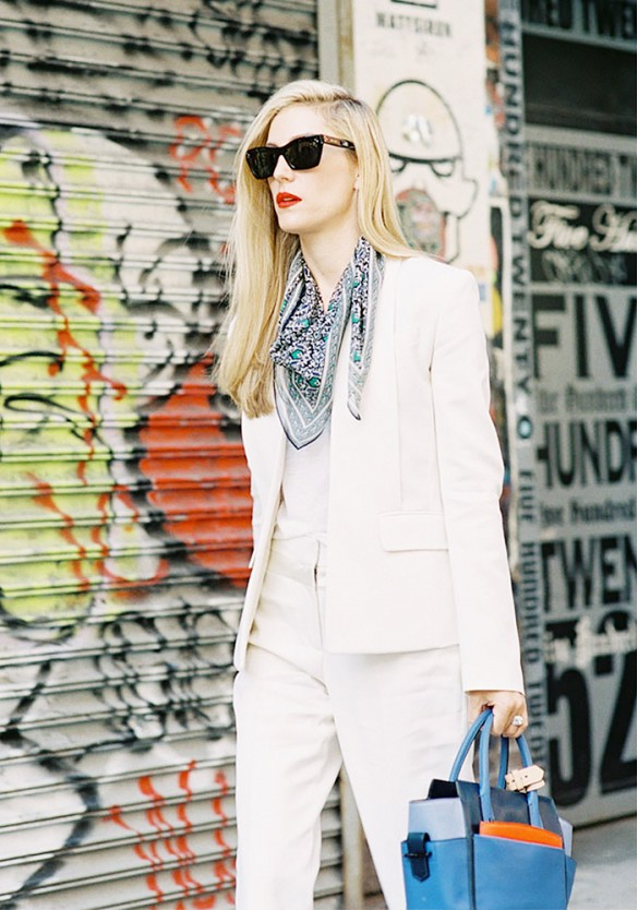 white-pants-suit-white-blazer-bandana-summer-spring-work-style-party-cocktail-party-joanna-hilman-editor-style-via-