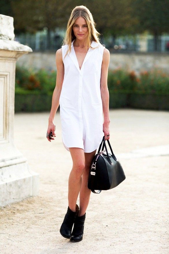 white-shirt-dress-summer-sundress-black-chelsea-boots-via-models.com