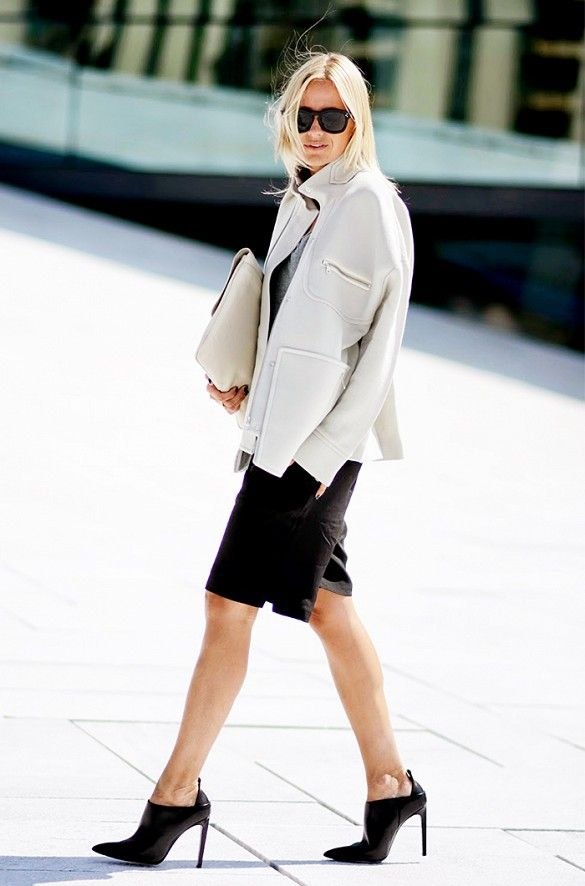 work-shorts-black-and-white-bermuda shorts, booties, oversized clutch