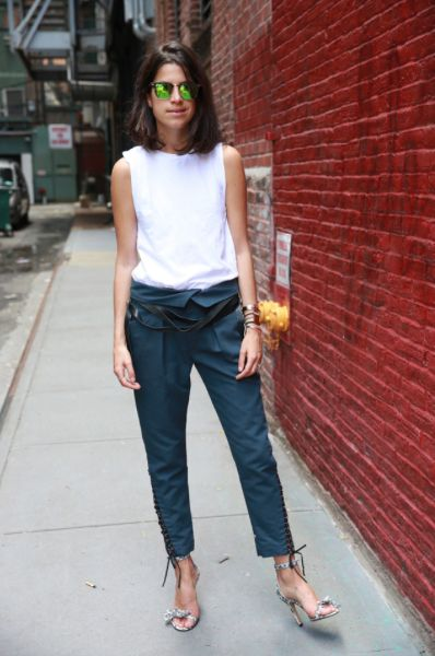 work-summer-work-outfit-paper-bag-pants-asymmetrical-pants-heels-sunglasses-leandra-medine-manrepeller-via-lacooletchic.tumblr.com
