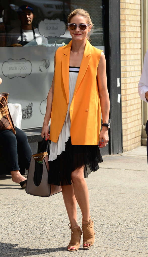 olivia palermo, black and white, party dress for work, yellow vest, summer work outfit