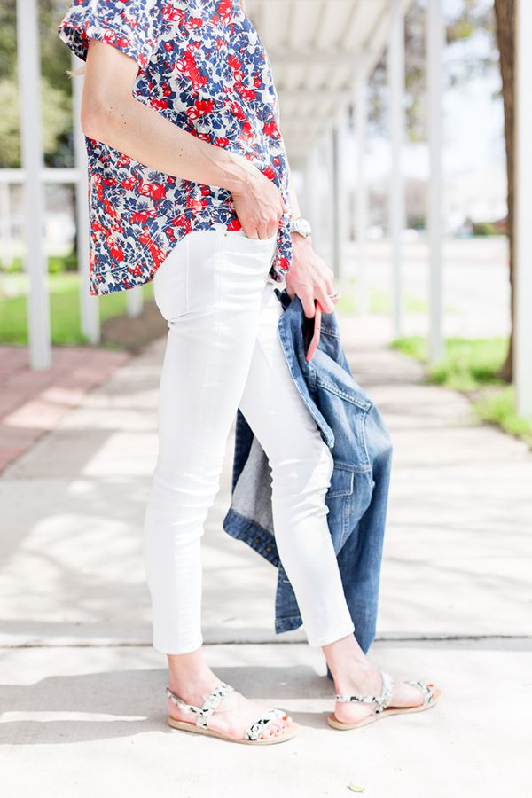 white jeans, red white and blue floral top, denim jacket, jeans jacket, sandals, weekend, bbq, pool party, fourth of july, luella & june