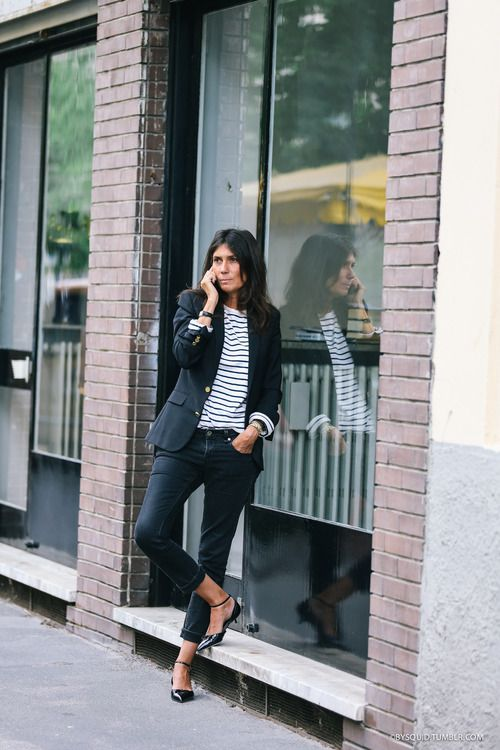 black-skinnies-striped-tee-ankle-strap-flats-emannuelle-alt-via-bysquixtumblr.com