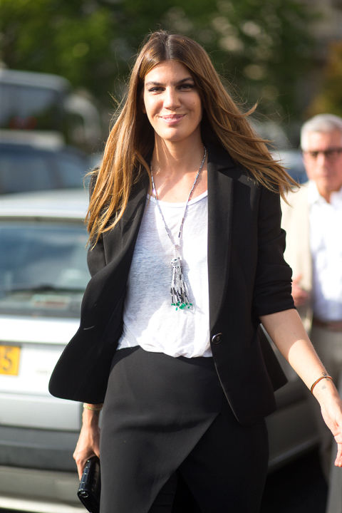 black-suit-summer-work-outfit-tassle-necklace-bianca-brandolini-paris-couture-fashion-week-via-hbz