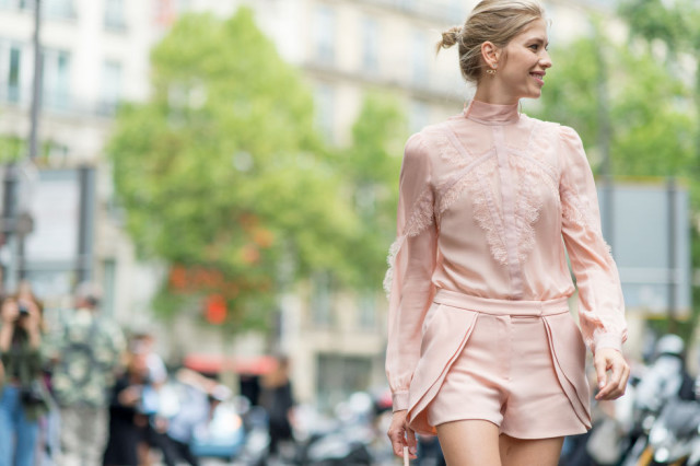blush-shorts-ruffle-victorian-high-neck-blouse-paris-couture-fashion-week-gvia-getty