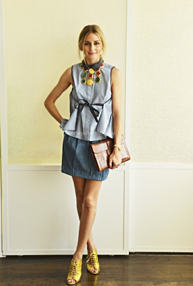 button-front-denim-mini-skirt-chambray-denim-peplum-top-blouse-statement-necklace-gold-heels-summer-booties-going-out-work-night-out-party-olivia-palermo-via-oliviapalermo.com