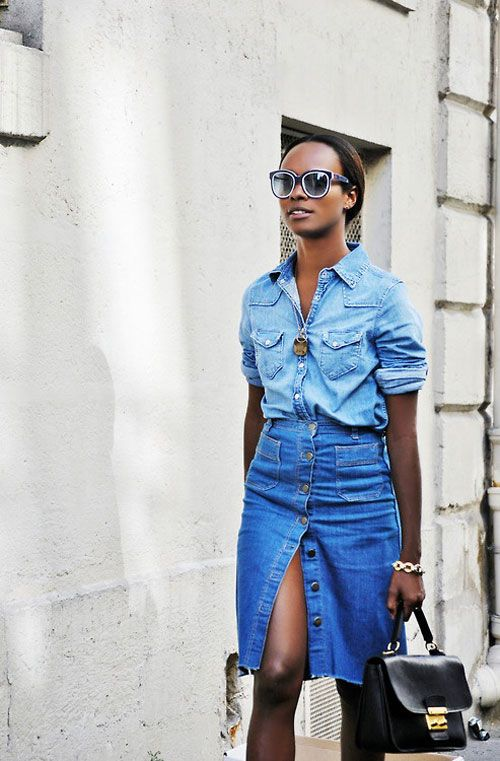 button-front-denim-pencil-skirt-chambray-shirt-double-denim-summer-outfit-work-weekend-party-bbq-via-brit.co