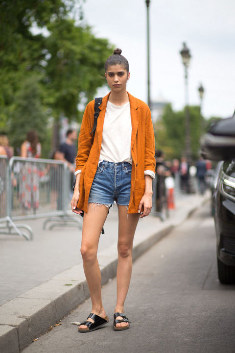 cutoffs-denim-shorts-birks-white-tee-orange-blazer-blazers-and-cutoffs-paris-couture-fashion-week-via-hbz
