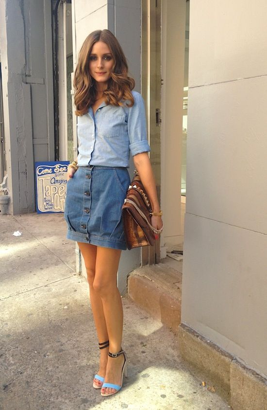 denim-button-front-mini-skirt-chambray-shirt-double-denim-summer-work-outfit-going-out-date-night-party-olivia-palermo-via-oliviapalermo.com