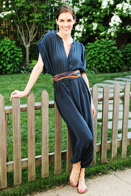 hilary rhoda, model style, jumpsuit, summer party hamptons outfit, scarf