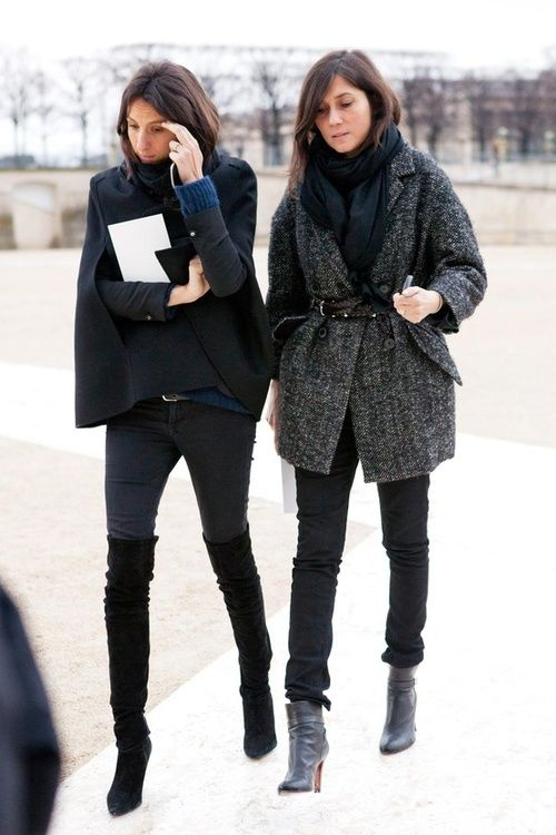 french style, over the knee thigh high boots, fall neutrals, navy and black, tweed coat, belted, skinny jeans