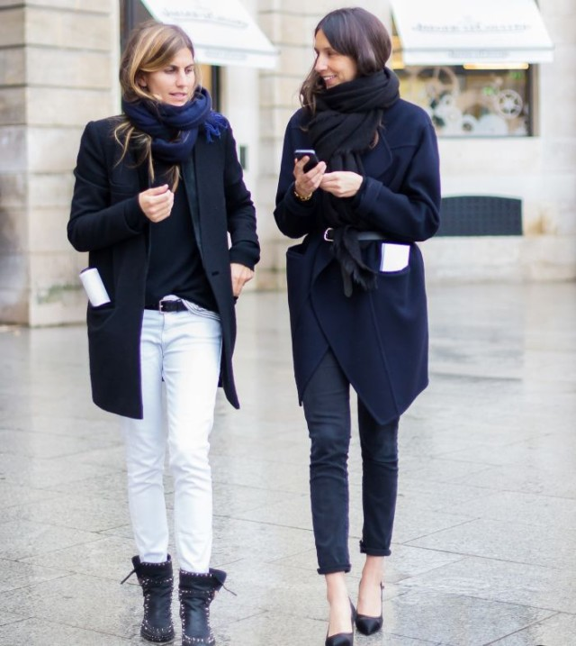 white jeans in winter,snow boots, navy coat, belted sweater coat, skinny jeans, french style, style uniform, winter outfits, fall outfits