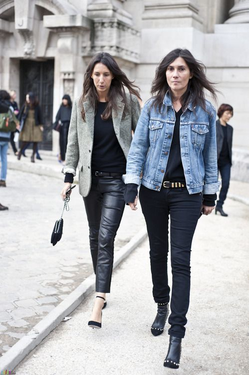 french-style-emmanuelle-alt-leather-skinnies-tweed-jacket-denim-jacket-via-thefashionspot.com