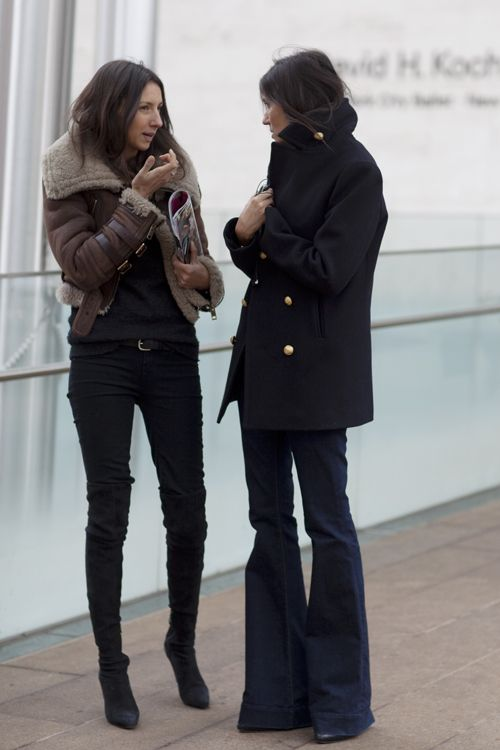 shearling coat, over the knee boots, flare jeans, pea coat, french vogue editors, french style,