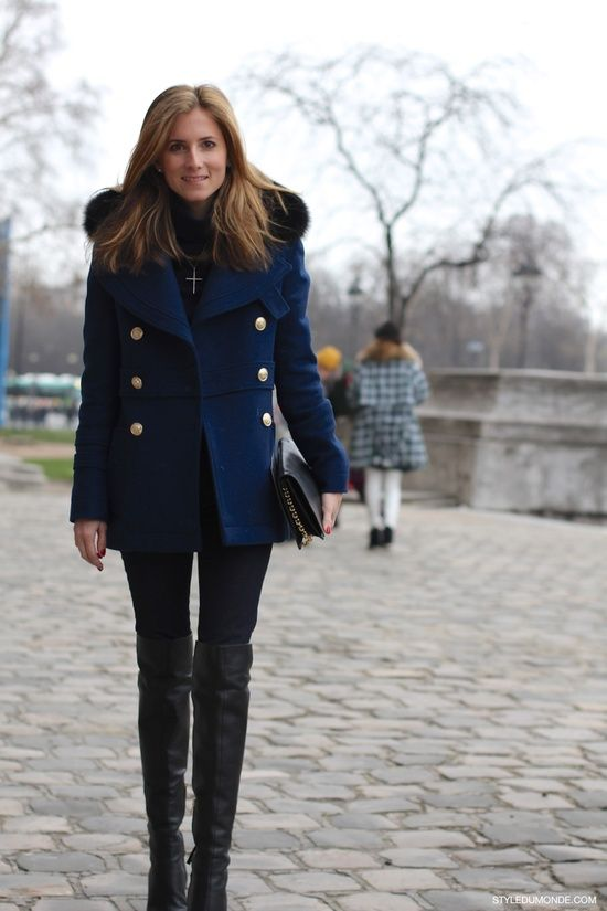 style du monde, navy and black, navy peacoat fur hood, black over the knee boots, black skinnies, cross pendant necklace, teen vogue fashion director marina larroude