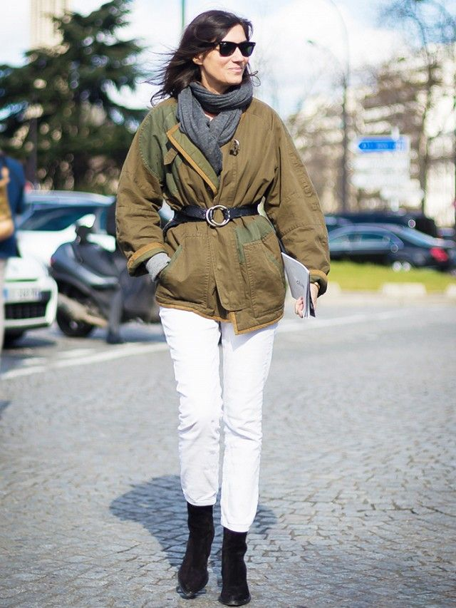 white jeans belted army jacket black booties, scarf belted black booties, boots and jeans, french style