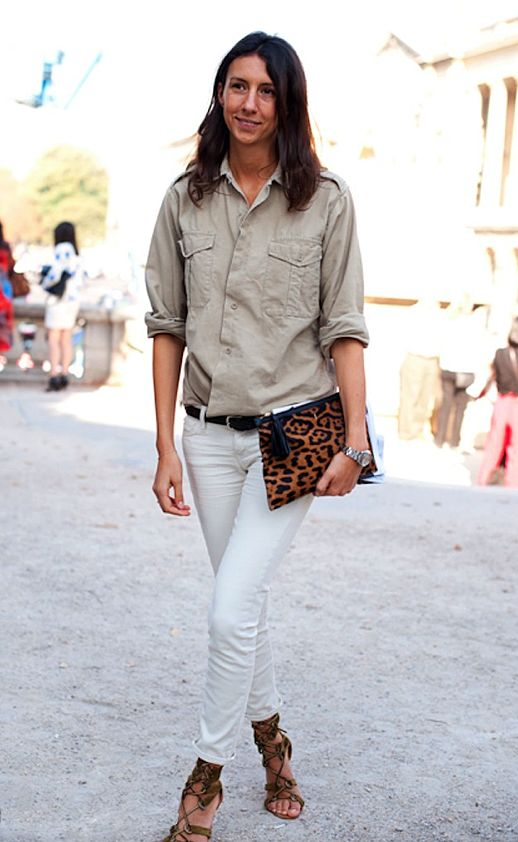 white jeans, french style, army shirt, leopard clutch, style hack, fall spring outfit