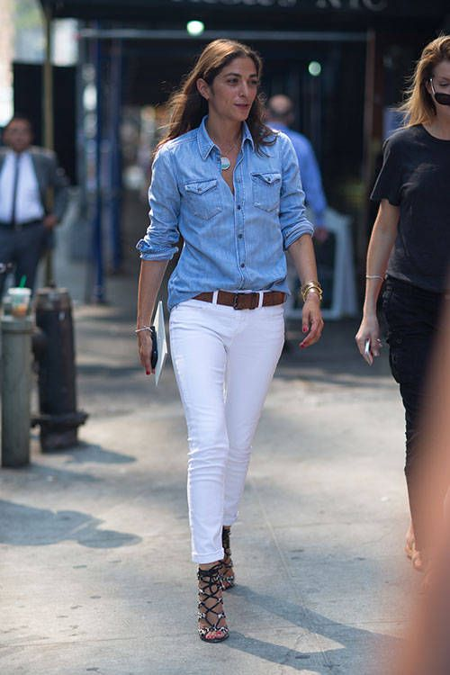 french-style-white-jeans-caged-sandals-chambray-shirt-via-hbz-