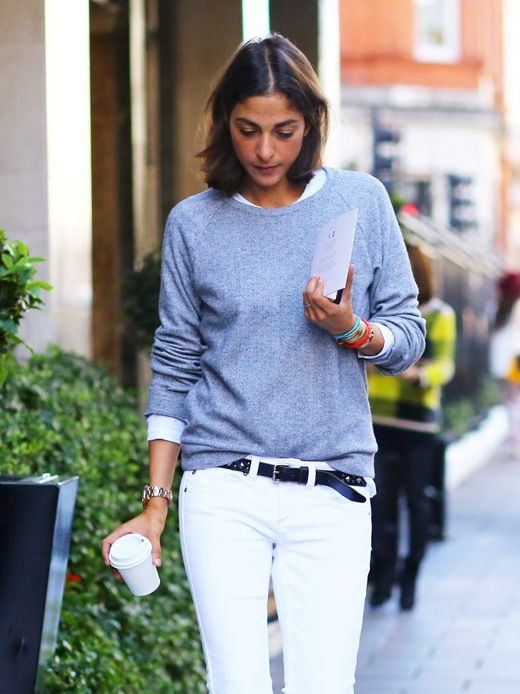 French Style White Jeans Grey Swaetershirt Via Ideasforbeautypic