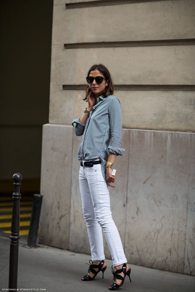 french-style-white-jeans-striped-oxford-strappy-heels-via-stockholm-streetstyle.com