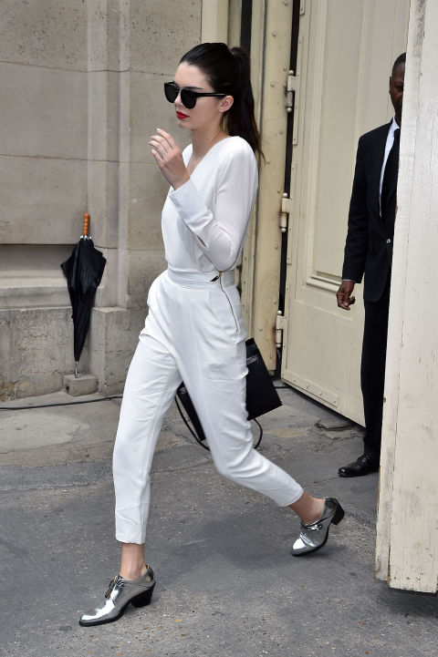 kendall-jenner-model-off-duty-style-white-pants-top-all-white-silver-oxfords-summer-work-outfit-paris-couture-fashion-week-via-getty