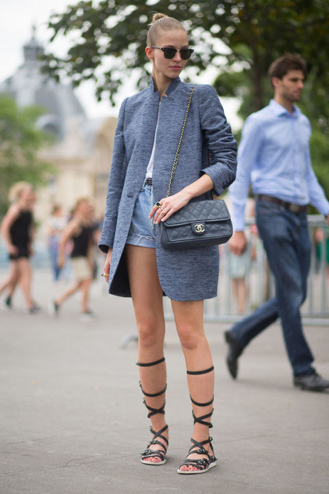 long-blazer-coat-cutoffs-denim-shorts-gladiator-sandals-white-tee-sunglasses-chanel-bag-paris-couture-fashion-week-via-hbz