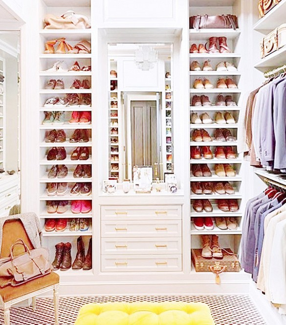 closet organization, shoe shelves, via www