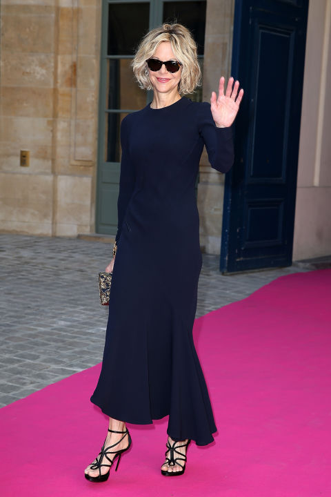 meg-ryan-navy-maxi-dress-ruffle-hem-minimalist-black-and-navy-work-outfit-party-paris-couture-fashion-week-via-getty