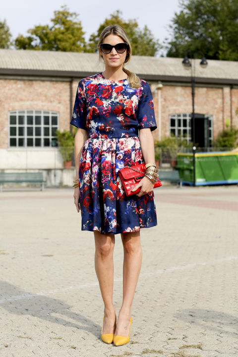 floral dress, red white and blue, fourth of july, summer work outfit, summer wedding guest outfit, summer outfit, spring, elle.com
