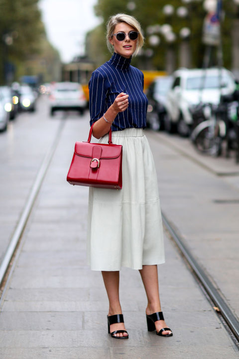 culottes, pinstripes, red white and blue, fourth of july, summer spring work outfit, elle.com