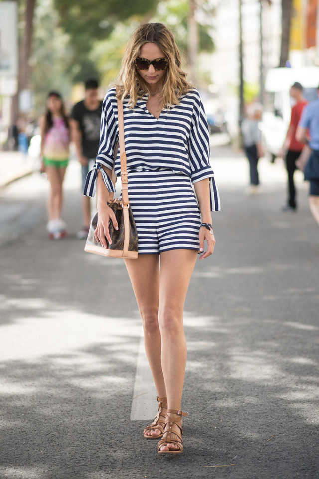 navy-blue-and-white-romper-striped-romper-stripes-gladiator-sandals-summer-date-night-night-out-party-fourth-of-jiuly-via-getty